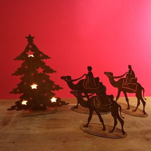 Christmas Rusted Three Kings Decoration - table decorations