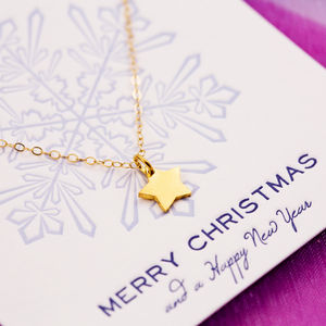 Tiny Star Necklace On Merry Christmas Card