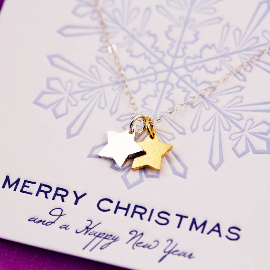 tiny star necklace on merry christmas card by j&s jewellery ...