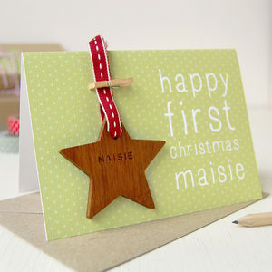 Personalised First Christmas Keepsake Card - tree decorations