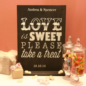 Personalised 'Love Is Sweet' Wedding Table Decoration - art & pictures