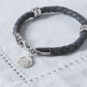 St Christopher Leather Wristband - bracelets & bangles