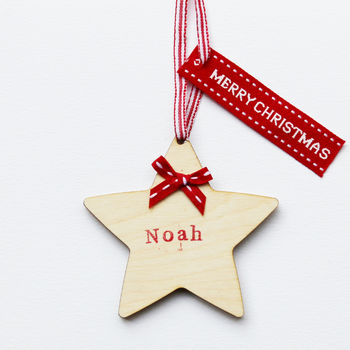 Wooden Christmas Star Card And Decoration