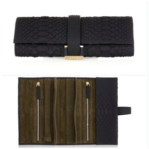 Genuine Python Leather Travel Jewellery Roll - bedroom