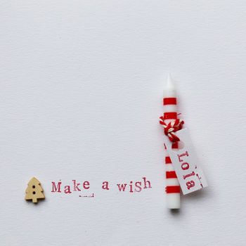 'Make A Wish' Christmas Stripey Candle Card