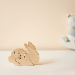 Wooden Rabbit Puzzle Ornament