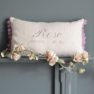 Personalised Baby Name And Date Cushion - christening gifts