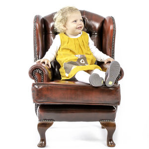 Child's Queen Anne Wingback Chesterfield Chair - children's room