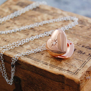 Rose Gold White Topaz Star Heart Locket Necklace - gifts for her