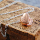 Rose Gold Topaz Birthstone Star Heart Locket Necklace