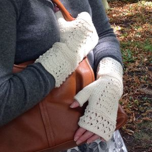Organic Cotton Lace Fingerless Mittens - womens