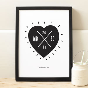 Personalised Heart Wedding Print - posters & prints
