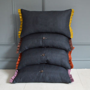 Linen Cushion With Ruffles