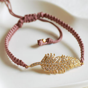 Mauve Feather Friendship Bracelet - wedding jewellery