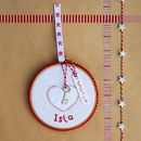'Santa's Key' Embroidery Hoop Hanging Decoration