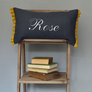 Personalised Linen Cushion With Ruffles