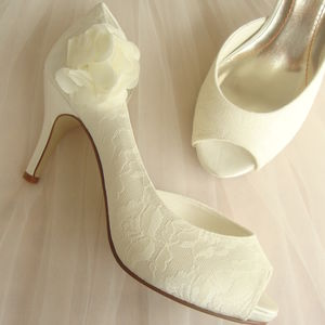Ivory Lace Corsage Wedding Shoes - bridal shoes