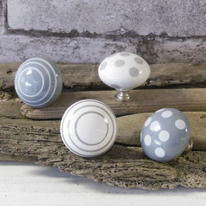 Grey Chest Of Drawer Ceramic Cupboard Knob - door knobs & handles