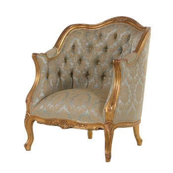 Wing Chair In Green And Gold