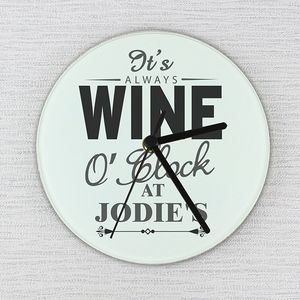 'It's Wine O'clock' Personalised Wall Clock