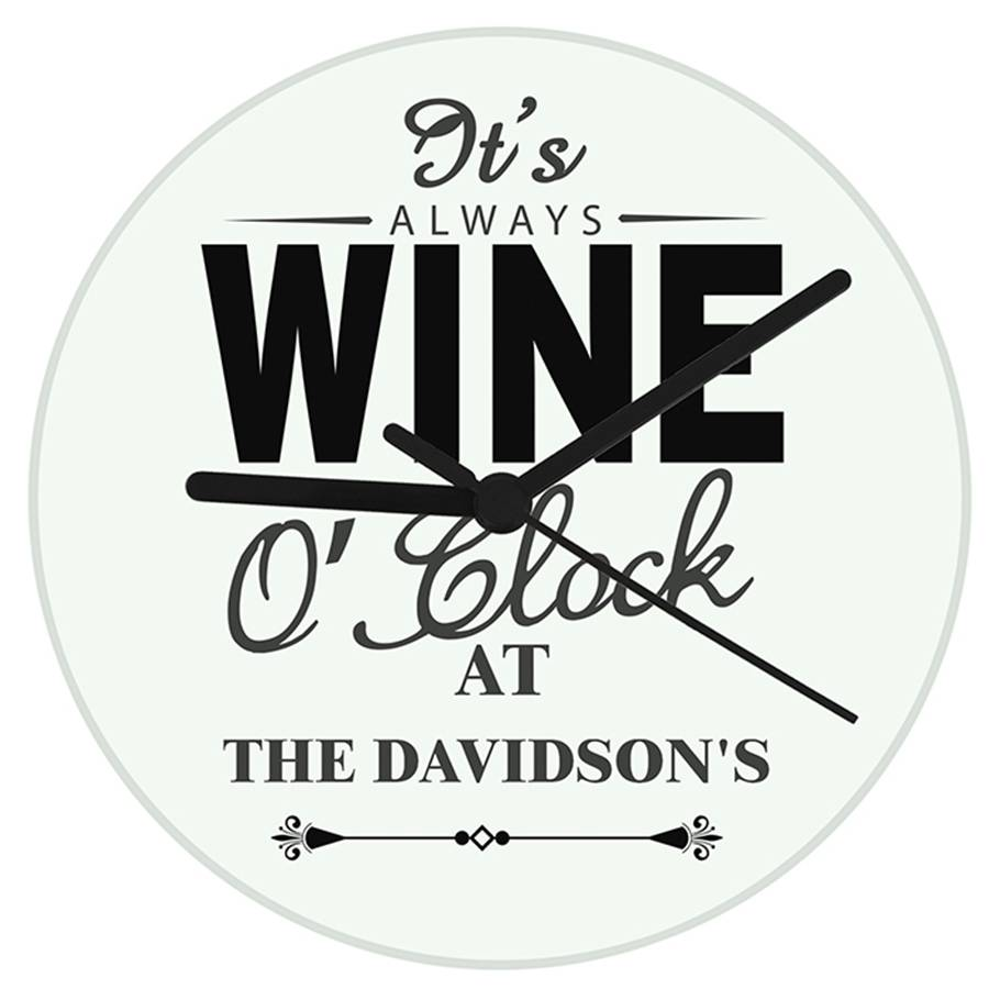 'it's wine o'clock' personalised wall clock by hope and ...