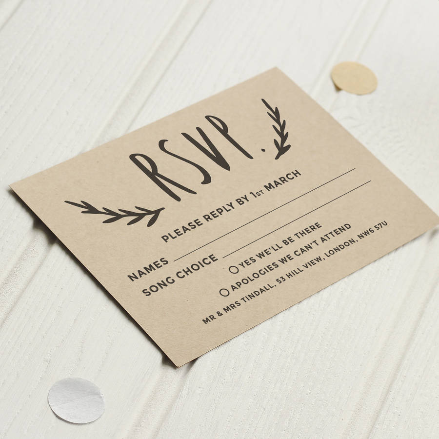 floral kraft wedding invite by old english company ...