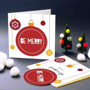 'Be Merry' Ball Ball Christmas Card With Coaster