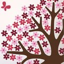 Pink Flower Tree Wall Sticker