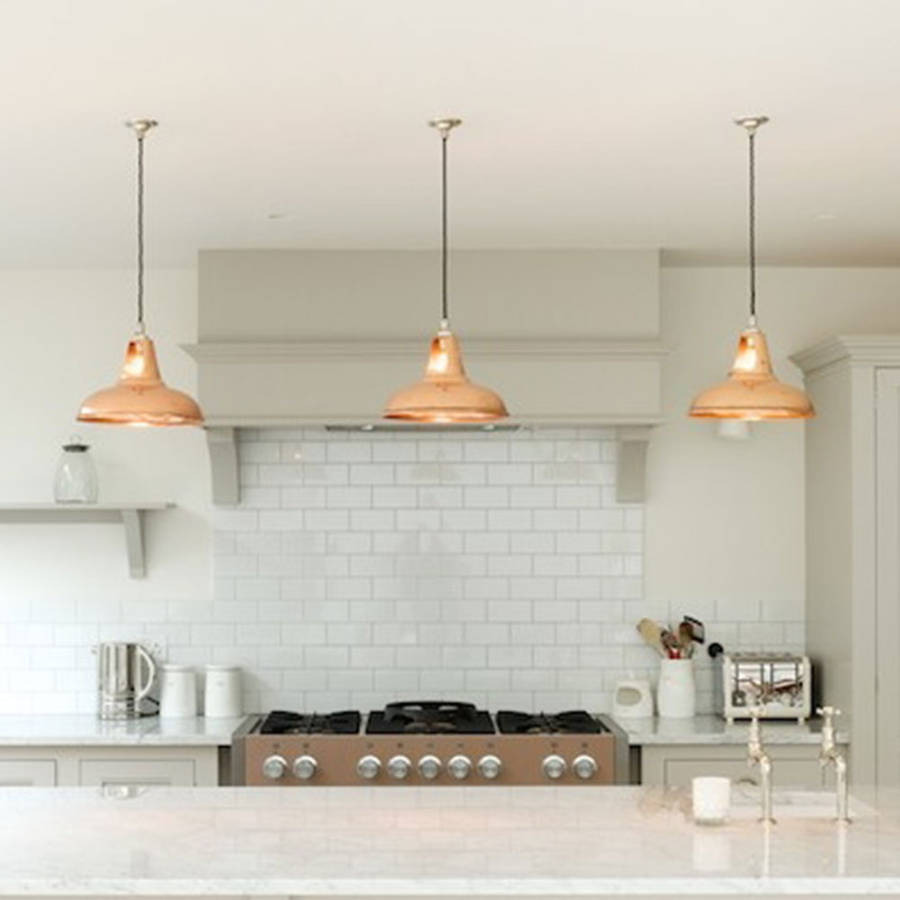 Copper kitchen island lights for Island kitchen lighting fixtures