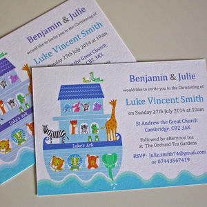 Boys 'Noah's Ark' Christening Invitations - children's parties