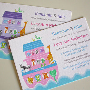 Girls 'Noah's Ark' Christening Invitations - children's parties