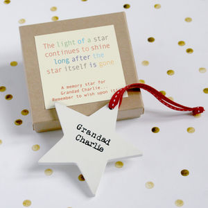 Personalised Wooden Memory Star - view all decorations
