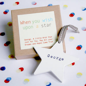 Personalised Wooden Wish Star - gifts for babies