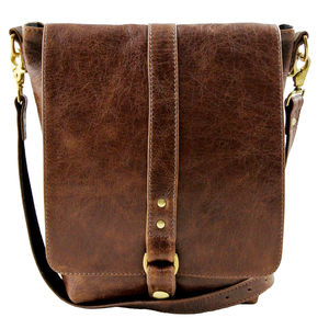 Brown Leather Merritt Messenger Bag - bags