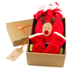 Rudolf Hat And Mittens Children's Christmas Gift Set - babies' gloves