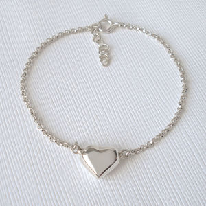Sterling Silver Puffed Heart Bracelet - gifts for her