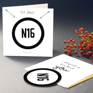 'Our Place' Postcode Card With Coaster - shop by category