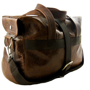 Handcrafted Brown Leather Holdall - luggage
