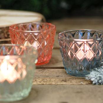 Three Glass Votive Tea Antique Vintage Light Holders