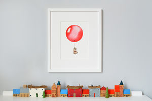 Personalised Red Balloon Print - pictures & prints for children