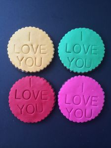 Four Large Colourful I Love You Cookies