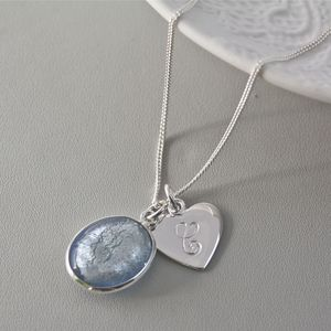 Silver Necklace With Murano Glass Oval And Initial - necklaces & pendants