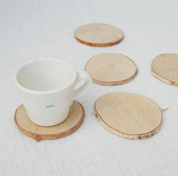 Set Of Five Mini Birch Log Slices