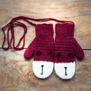 Animal Character Mittens On A String - womens