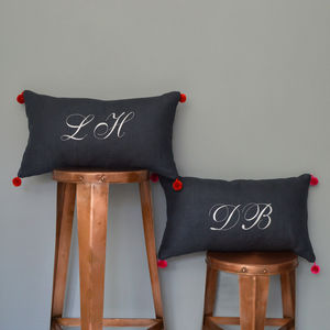 Monogrammed Linen Cushion With Bobbles - monochrome bedroom