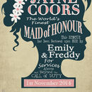 Maid Of Honour Personalised Wedding Print