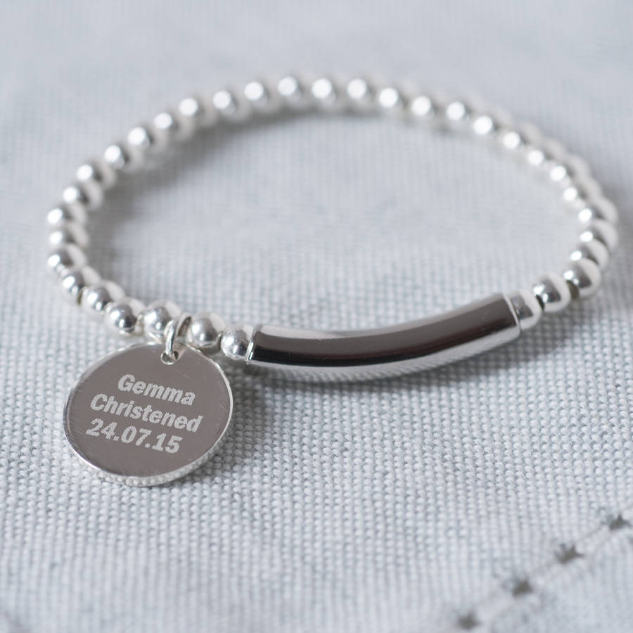 Modern Sterling Silver 925 Christening Bracelet By Oh So