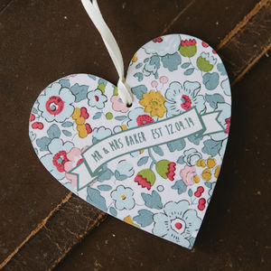 Mr And Mrs Wooden Heart - tree decorations