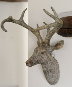 Papered Stag Head - mixed media & collage