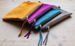 Suede Zipper Pouch Medium - bags & purses
